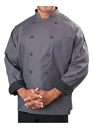 KNG Mens Long Sleeve Active Chef Coat, Slate with Black Accent, L