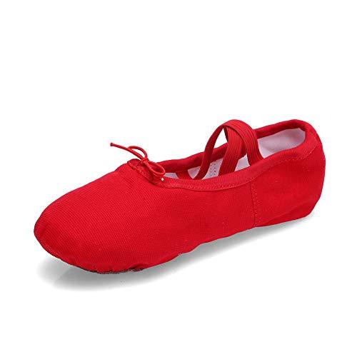 TRIWORIAE - Zapatos de Baile Ballet Zapatillas de Danza/Yoga/Pilates/Gimnasia para Niña Mujer Rojo 28 EU
