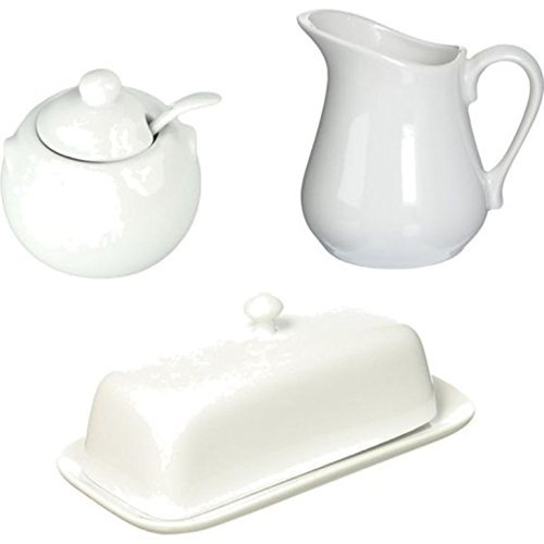 Porcelain White Butter Dish with Lid, Creamer Pitcher, and Sugar Bowl with Lid & Spoon - Bundle of 3