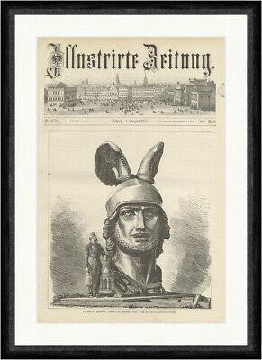 Kunstdruck Der Kopf des Hermanns Denkmals im Teutoburger Wald Helm Statue Faksimile_E 11698