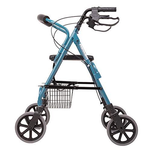 ZHHB Faltbar 4-Rollen-Rollator, Gehhilfe Für Ältere Menschen, Höhenverstellbar Einkaufswagen Mit Gepolstertem Sitz Und Feststellbaren Bremsen