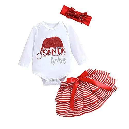 Little Girl 's Three Piece Suit Christmas Letter Long Sleeve Romper and Stripe Short Skirt & Headband (Rojo, 12-18 Meses)