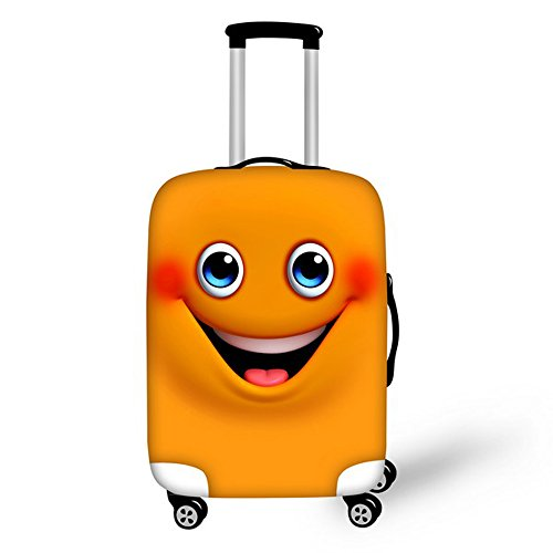 FOR U DESIGNS 22-26 Inch Middle Cute Shy Smile Face Design Soft Luggage Cover for College Students