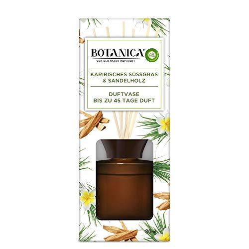 Botanica by Air Wick Duftvase – Duft: Karibisches Süßgras & Sandelholz – Nachhaltig hergestellt mit natürlichen Inhaltsstoffen – 1 x Raumduft mit Stäbchen