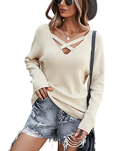 SEVETAT Pullover Damen Elegant V-Ausschnitt Kreuz Strickpullover Mode Einfarbig Sweater Tops Casual Lose Pulli Langarm Jumper Oberteile (L, Beige)