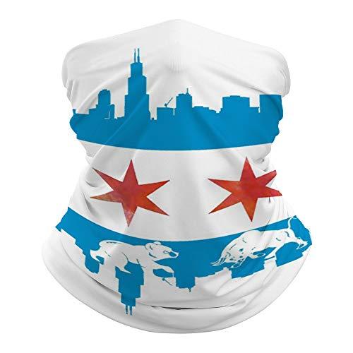 Chicago Bandera Skyline Oso Bull al aire libre sin costuras, tubo bandana multifuncional con protección UV para el cuello polaina, bufanda para la cabeza