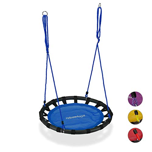 Relaxdays, blau Nestschaukel, runde Hängeschaukel, für Kinder & Erwachsene, verstellbar, draußen, Ø: 80 cm, bis 100 kg