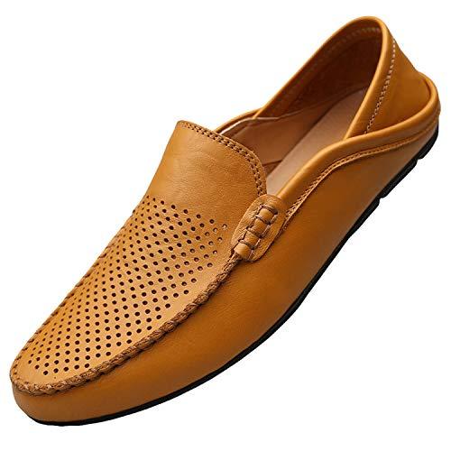 Unitysow Mocassini Uomo Pelle Estivi Pantofole Casual Eleganti Slip On Scarpe da Guida Scarpe da Barca Classic Loafers Giallo 41EU