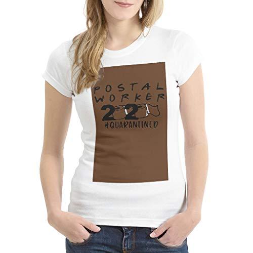 Zerosubsidi Women'sWomen Graphic Printed Postal Worker 2020 Quarantined T-Shirt Graphic Shirts Tops for Women Chocolate Color Small
