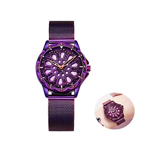 Dames Quartz Horloges Dames Stainless Steel Mesh Strap Horloge Rotating Hol Zon Bloem Glazen Wijzerplaat Waterdichte Horloges, Paars