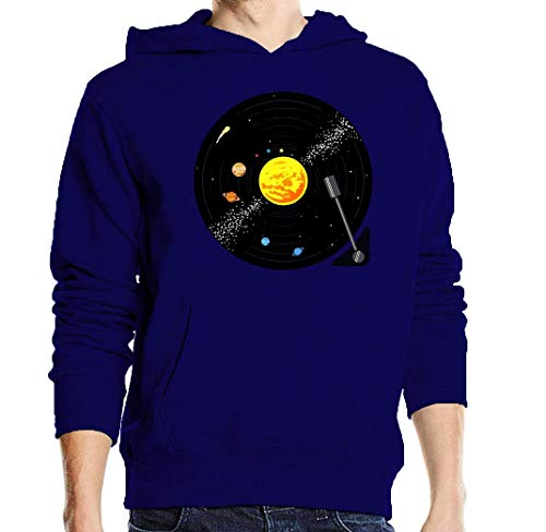 Solar System Vinyl Record Graphic Blue Unisex Pullover Hoodie XXL