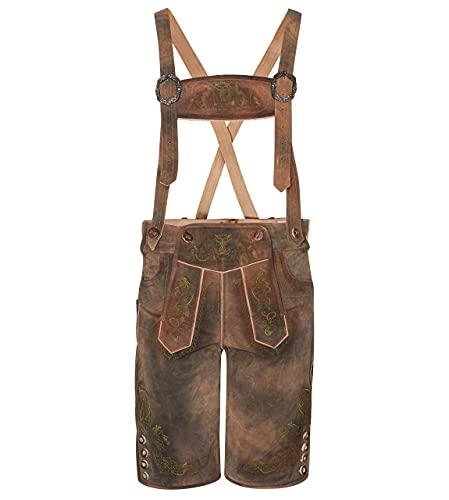 Pantalones cortos de piel antiguos – Pantalones de cuero para traje tradicional tradicional vintage, incluye tirantes – Oktoberfest – Pantalones de cuero auténtico – cuerno salvaje, marrón, 48