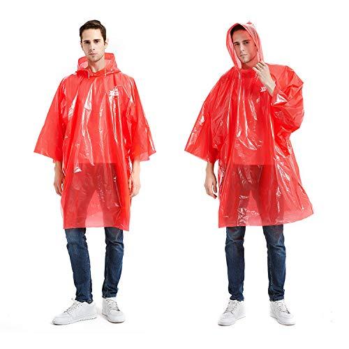 Salamra Einweg-Regenponcho, 2er-Pack, wasserdichter Regenmantel für Erwachsene und Teenager mit Kapuze für Themenparks, Camping, Outdoor-Aktivitäten, transparent, Red-2er-Pack.
