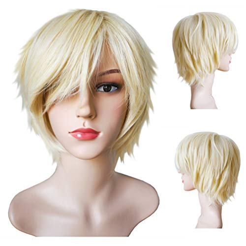 Another Me Women Men's Layered Short Straight Wig Light Blonde Hair Heat Resistant Fiber Wig Party Cosplay Accessories