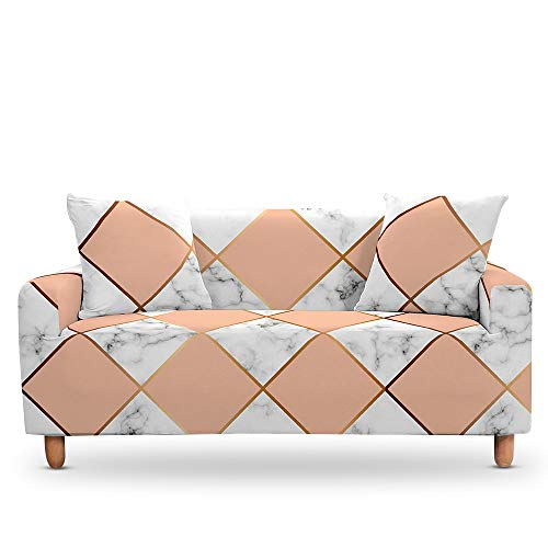 ASCV Cojines de mármol geométricos Fundas para Muebles de sillón Universal Estuche elástico en la Funda de sofá de Esquina A7 3 plazas