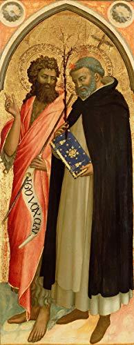 Fra Angelico Giclee Auf Leinwand drucken-Berühmte Gemälde Kunst Poster-Reproduktion Wand Dekoration(Guido Di Pietro von Giovanni Da Fiesole Italiener Johannes der Täufer und St Dominic) #XFB