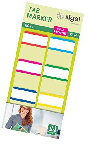 Tab Marker Film Adhesivo Marcadores Extra Fuerte 25 x 38 mm 60 Hojas Rojo / Magenta / Amarillo / Cian / verde / amarillo