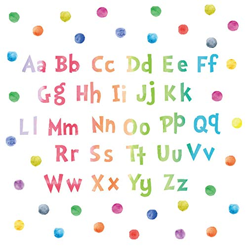 ABC Wall Decals, H2MTOOL Removable Watercolor Dot Educational Alphabet Wall Stickers for Kids Nursery Room Decor Peel and Stick (Watercolor)