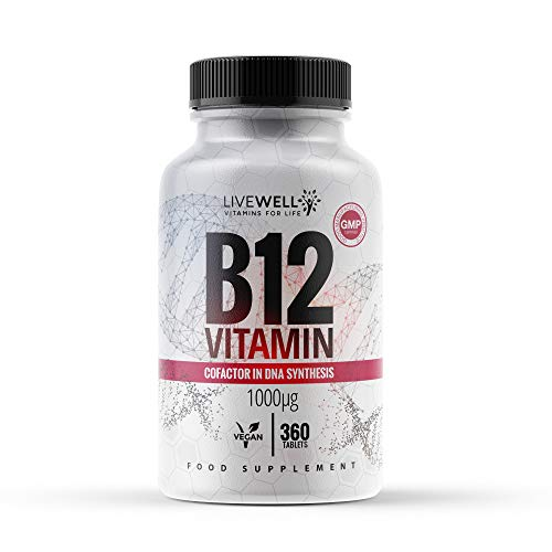 Vitamin B12 1000mcg | 360 Vegan Tablets | Contributes to The Reduction of Tiredness & Fatigue and Also The Normal Function of The Immune System | Made in The UK (360 Tablets)