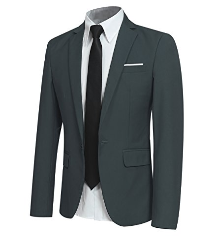 YFFUSHI Men Slim Fit One Button Blazer Jacket Casual/Party Sport Coat,Green,X-Large