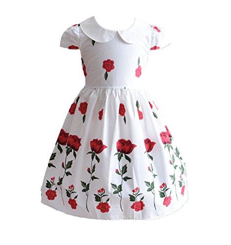 Cinda Mädchen stieg Sommer Baumwolle Partykleid Rosa 110-116(Herstellergröße 135)