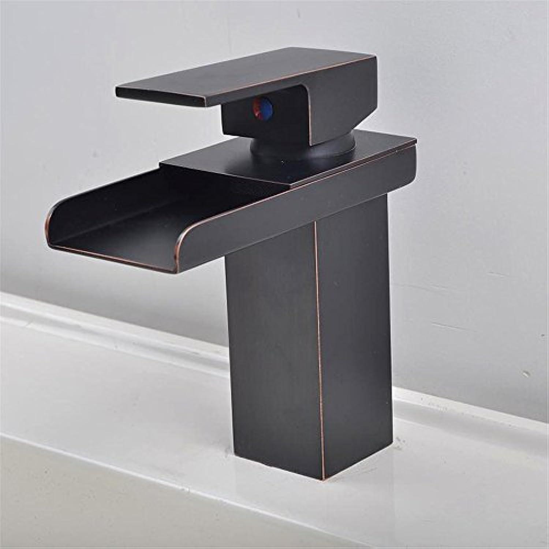 AOEIY Wasserhahn Küchen Mischbatterie Kupferner Wasserfallschwarzes alter weiter Mund hei und kalt Waschtischarmaturen Mixer Spültisch Armatur Bad Spülbecken badezimmer Küchenarmatur
