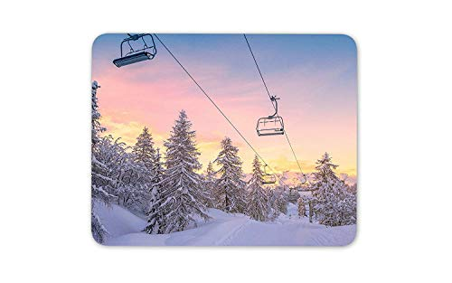 Mountain Chair Lift Mouse Mat Pad - Ski Snowboard Snow Gift PC Computer #8497