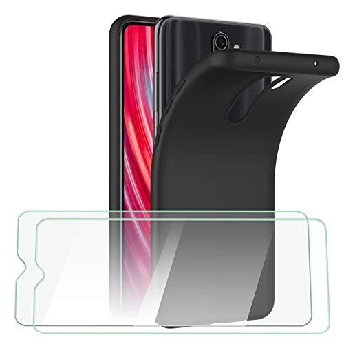 HTDELEC für Xiaomi Redmi Note 8 Pro Hülle +[2 Stück] Panzerglas Schutzfolie,Dünn Handyhülle Weiche TPU Silikon Schutzhülle Tasche-Schwarz