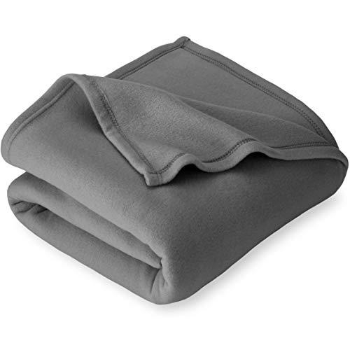 Bare Home Polar Fleece Throw Blanket - Warm & Cozy Blanket - Premium Fleece Blanket - Fluffy Blanket - Lightweight Fuzzy Blanket - Soft Blanket - Bed Blanket (Throw, Grey)