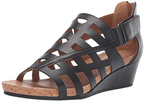 Mootsies Tootsies Women's Tegan Wedge Sandal Black 6.5 Medium US
