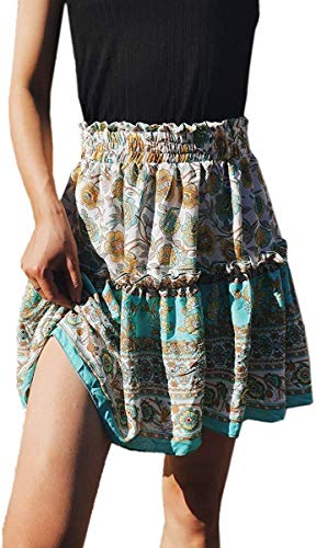 Hajotrawa Womens Flare Casual High Waist Beach Floral Print Ruffled Summer Skirt Mini Tiffany Blue Large