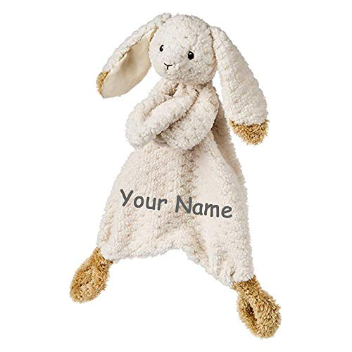Personalized Oatmeal Bunny Rabbit Lovey Plush Stuffed Animal Blanket for Baby Boy or Baby Girl with Custom Name - 13 Inches