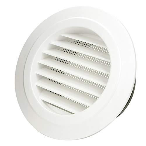 Hon&Guan ø125mm Ronda Rejilla de Ventilación ABS con Protección Contra Insectos, Respiraderos de Láminas para Baño Habitación Oficina (ø125mm)
