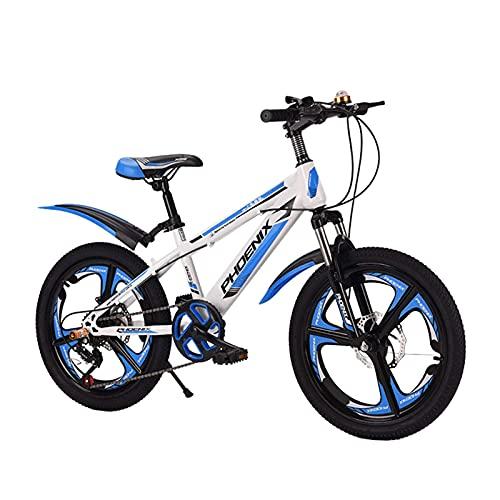 HUAQINEI Bicicleta al Aire Libre para niños de 18/20 Pulgadas, para niños y niñas de 7 a 14 años Bicicleta de montaña Ajustable para niños