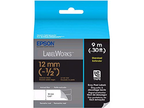 Epson LabelWorks Standard LC Tape Cartridge ~1/2-Inch Gold on Black (LC-4BKP9)