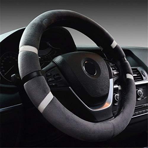 CHENDX Cubiertas del Volante de los automóviles Invierno Cálido Protector de Peluche Auto dirección Ruedas Accesorios Interiores Diámetro 36-38cm (Color : Grey 36cm, Size : Free)