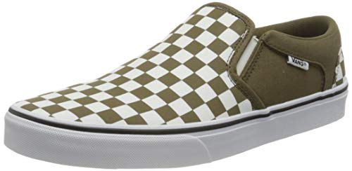 Vans Asher Sneaker, Zapatillas Hombre, Verde (Checkerboard Military Olive White), 42 EU