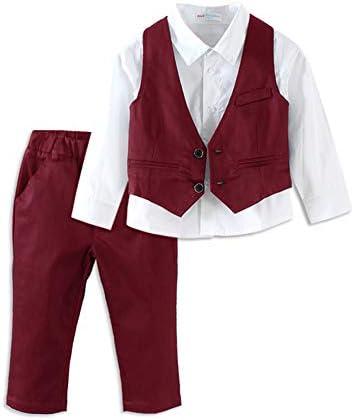 Mud Kingdom Toddler Boy Dress Shirt and Tie with Blazer Set Burgundy 2t product image
