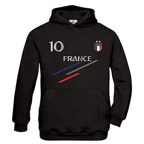JHK Sweat à Capuche Enfant Foot France 2 étoiles Noir - Noir - 3/4 Ans