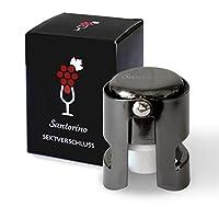 Santorino® Tappo per bottiglie di spumante   Sigillo Premium per champagne   Acciaio inox scuro   Crea il Vuoto e Sigilla le Tue Bottiglie Aperte di Prosecco   Richiudibile