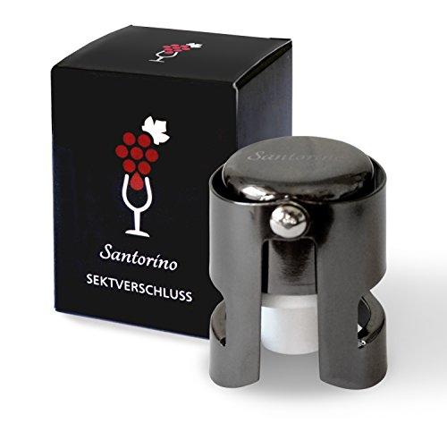 Santorino® Sektverschluss | Premium Sekt- und Champagnerverschluss aus dunklem Edelstahl | Exklusiv für Sekt und Champagner Flaschen
