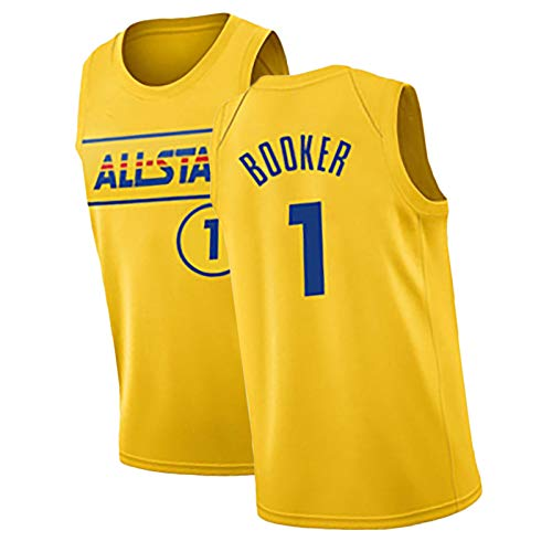 HQAZ 2021 VERSIÓN Personalizada All-Star Booker Baskerball Shirt, Jersey Jersey Jersey Competencia Pista Deportiva Y Deportes de Campo Poliéster de Malla Chaleco S
