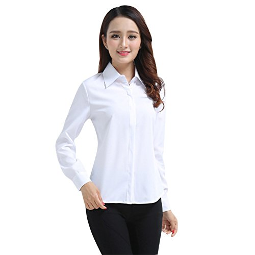 Henghzi Women's Office Slim White Shirt Blouse Long Sleeve Formal Button Top Office Blouses Women