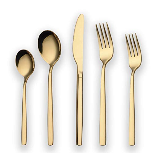 Berglander 20 Piece Titanium Gold Plated Stainless Steel Flatware Set, 20 Pieces Golden Silverware Set, Golden Cutlery Set, Service for 4 (shiny Gold)