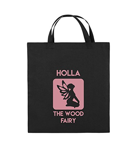 Comedy Bags - Holla The Wood Fairy - Jutebeutel - Kurze Henkel - 38x42cm - Farbe: Schwarz/Rosa