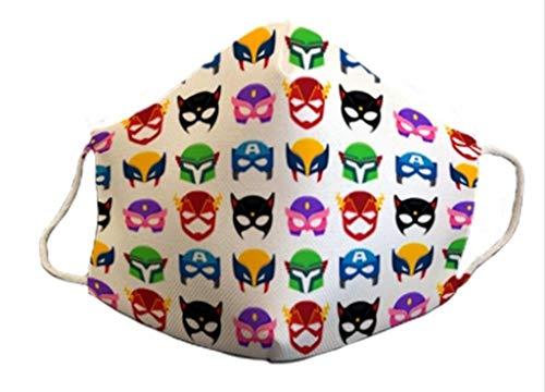 Mascarilla homologada infantil 6-9 años niño niña reutilizable 3capas de protección lavable y divertidas estampada superheroes