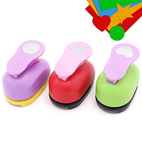 Paper Punchers Hole Punch 1 Inch - Shape Punches for Kids Paper Crafts, Card Making, Scrapbooking - 3 Shapes Including Circle, Star, Heart Crafts Paper Punch