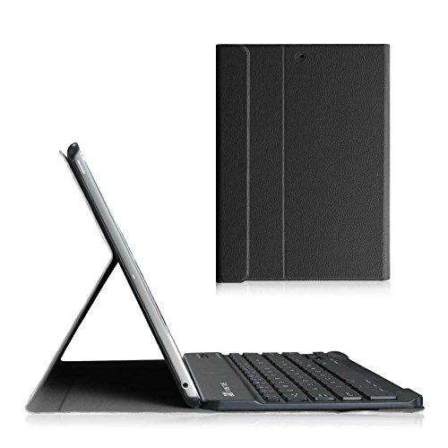 Fintie Tastatur Hülle für iPad Air 2 / iPad Air - Ultradünn leicht Ständer Schutzhülle Keyboard Case mit magnetisch Abnehmbarer drahtloser Deutscher Bluetooth Tastatur, Schwarz