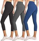 3 Pack Capri Leggings for Women Butt Lift-High Waisted Tummy Control Black...