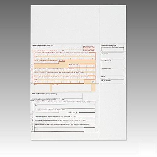 1.000 x Überweisungsträger Überweisungsformular SEPA Zahlschein A4 in der Mitte / 732572